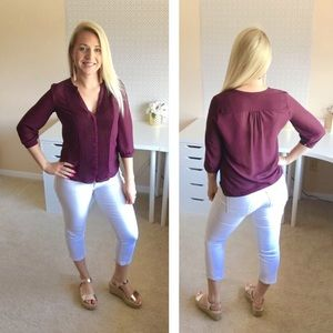 H&M Blouse Dark Purple Blouse Size 4 US Medium